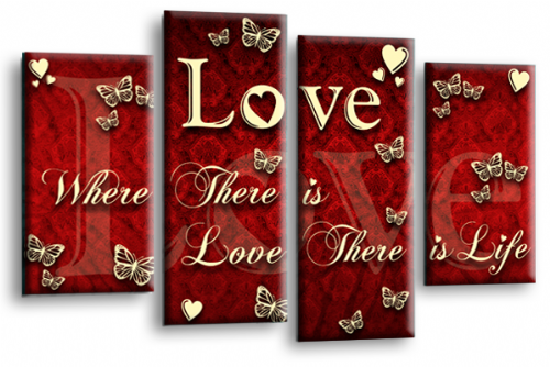 Love Quote Wall Art Print Red Cream Family Picture
